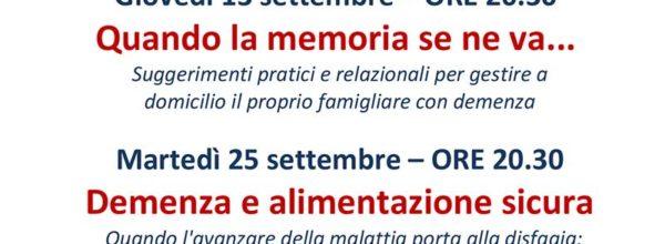 Settembre Alzheimer serate d'informazione