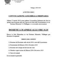 CONVOCAZIONE  ASSEMBLEA ORDINARIA Domenica 28 Aprile 2019