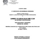 CONVOCAZIONE  ASSEMBLEA ORDINARIA Lunedi 15 Luglio 2019