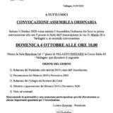 CONVOCAZIONE  ASSEMBLEA ORDINARIA Domenica 4 Ottobre 2020