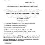 CONVOCAZIONE  ASSEMBLEA ORDINARIA Domenica 30 Maggio 2021